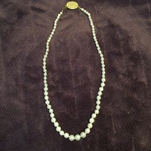 "Jewelry - ""Lisa"" engraved artificial pearl necklace 19 in"